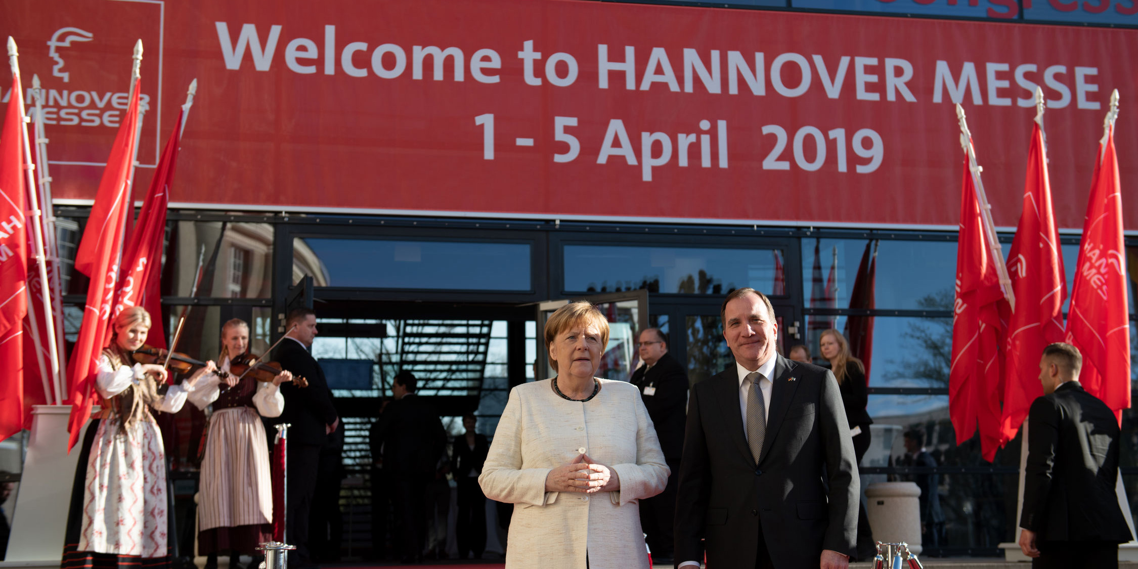 Opening Ceremony of HANNOVER MESSE, Sunday, March 31, 2019, Hannover Congress Centrum Photo with: H.E. Stefan Löfven, Prime Minister of Sweden and Dr. Angela Merkel, Chancellor of the Federal Republic of Germany. Photo: Hannover Messe.